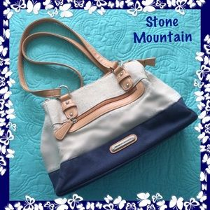 Stone Mountain Navy Beige Canvas Faux Leather Bag